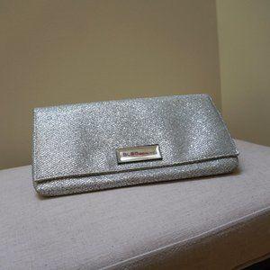 EUC Beautiful Silver Glitter BCBG Envelope Clutch
